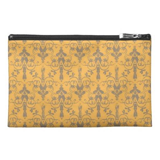 Classic Elegant Green Damask Pattern Travel Accessory Bag