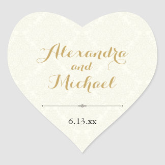 Classic Elegant Ivory Gold Black Damask Wedding Heart Sticker