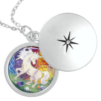 CLASSIC ENAMEL STERLING SILVER UNICORN CHARM STERLING SILVER NECKLACE