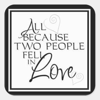 Classic Engagement & Wedding Envelope Seals Square Sticker