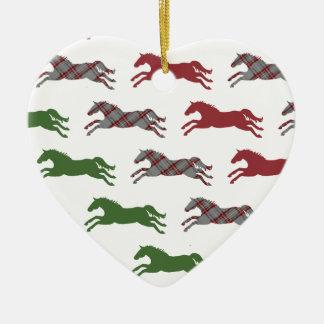 Classic Equestrian Christmas Ceramic Heart Decoration
