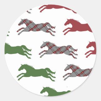 Classic Equestrian Christmas Round Sticker