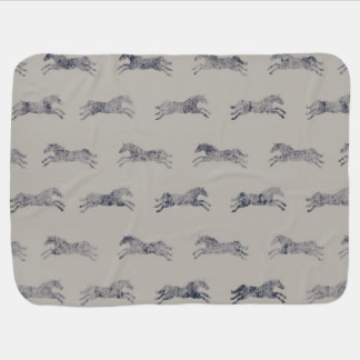Classic Equestrian Horse Pattern Baby Blanket