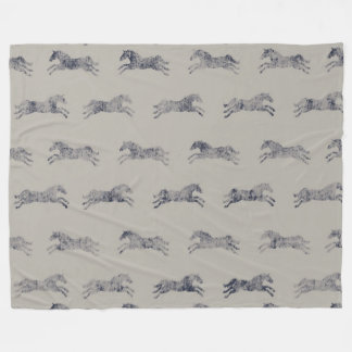 Classic Equestrian Horse Pattern Fleece Blanket