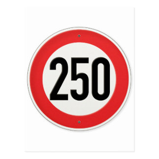 Classic Europe Speed Sign 250 Kilometres per hour Post Card