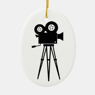 Classic Film Camera Double-Sided Oval Ceramic Christmas Ornament