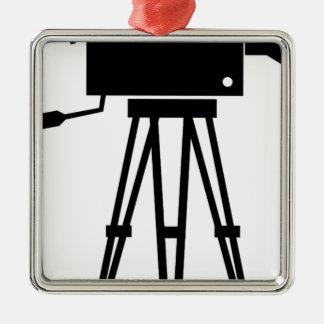 Classic Film Camera Square Metal Christmas Ornament