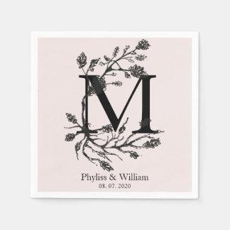 Classic Floral Branches Monogram Wedding Paper Serviettes