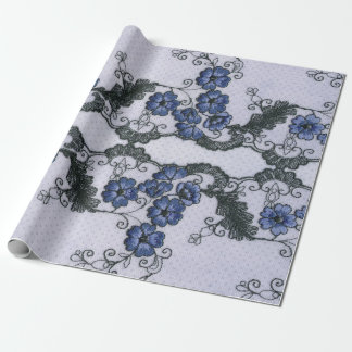 Classic Floral Gray Blue White Lace Wrapping Paper