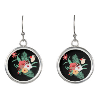 classic floral printing earrings