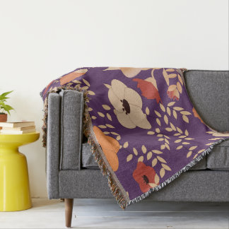 classic floral printing throw blanket