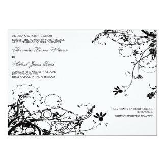 Classic Floral Wedding Invitations {White & Black}