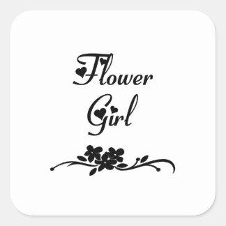 Classic Flower Girl Square Sticker
