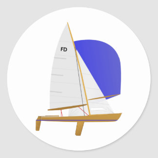 Classic Flying Dutchman Sailboat Round Sticker