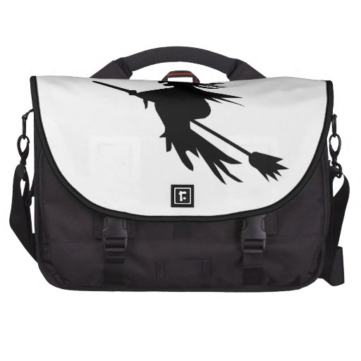 Classic Flying Witch Silhouette Broom Halloween Laptop Bag