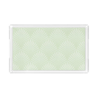 Classic foliage pattern in white and green acrylic tray