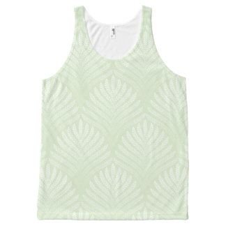 Classic foliage pattern in white and green All-Over print tank top