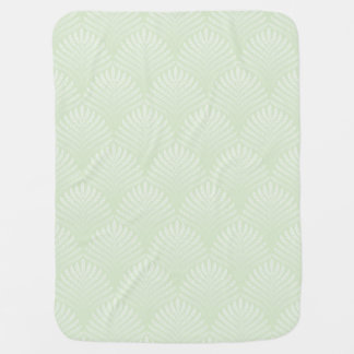Classic foliage pattern in white and green baby blanket
