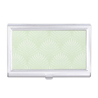 Classic foliage pattern in white and green business card holder