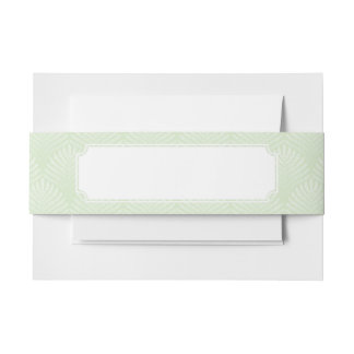 Classic foliage pattern in white and green invitation belly band