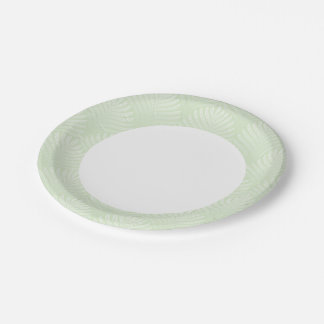 Classic foliage pattern in white and green paper plate