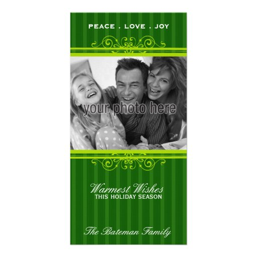 Classic Frame Christmas Photo Card in Green