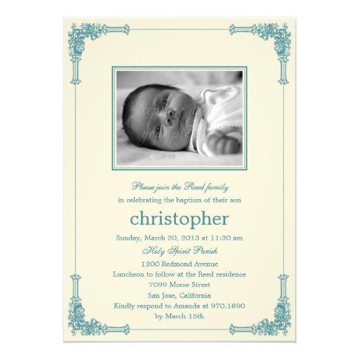 Classic Frame Photo Baptism/Christening Invitation Invites