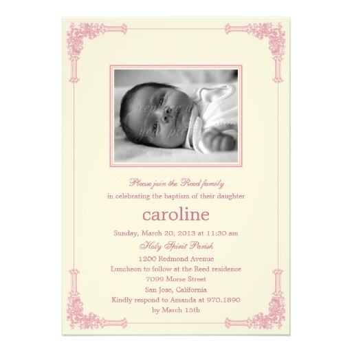 Classic Frame Photo Baptism/Christening Invitation Personalized Announcement