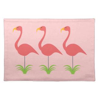 Classic Fun & Retro Coral Pink Lawn Flamingos Place Mat