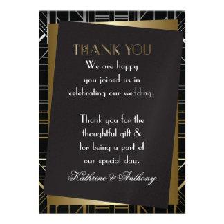 Classic Gatsby Deco Wedding Thank You Invite