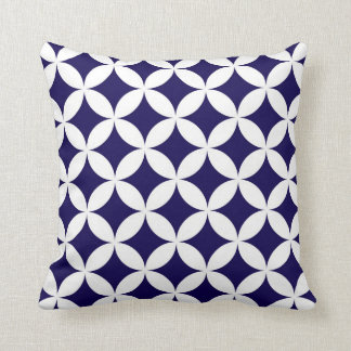 Classic Geometric Circles in Cobalt Blue and White Throw Pillow