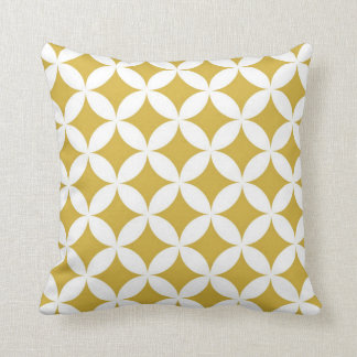 Classic Geometric Circles in Mustard and White Cushion