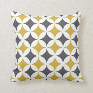Classic Geometric Circles in Mustard and White Throw Pillow