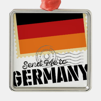 Classic Germany Flag Send Me to Silver-Colored Square Decoration