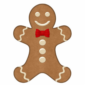 Classic Gingerbread Man Shaped Holiday Magnet Photo Sculpture Magnet