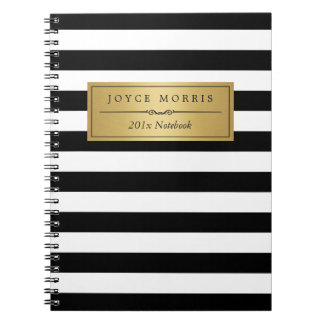 Classic Gold and Elegant Black White Stripes Notebooks