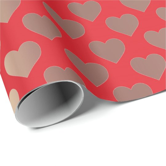 Classic Gold Blush Pink Red Hearts Confetti Wrapping