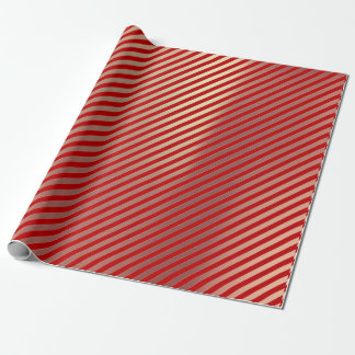 Classic Gold Blush Pink Red White Stripes Lines Wrapping Paper