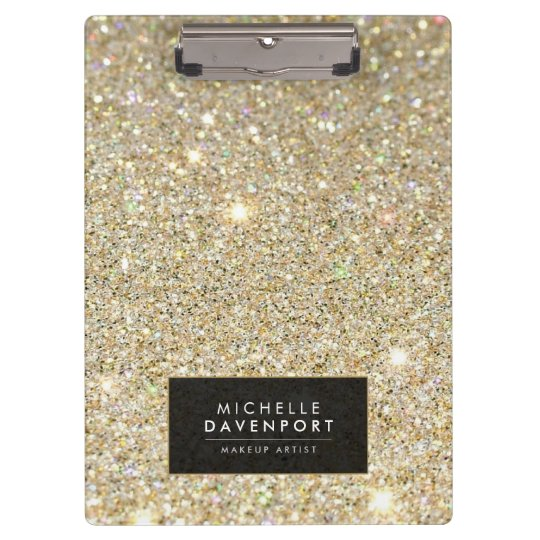 Classic Gold Glitter Personalised Clipboard