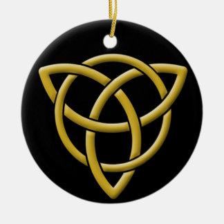 Classic Gold on Black Tri-Quatra Christmas Ornament