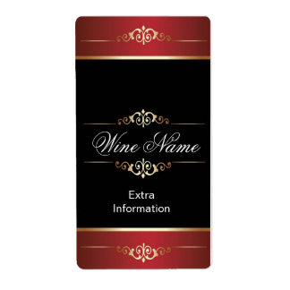 Classic Gold Red Black Wine Label Shipping Label