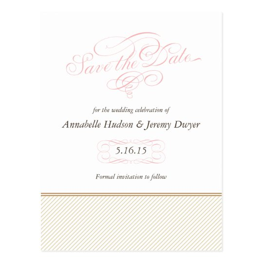 Classic Gold Stripes Save the Dates Postcard