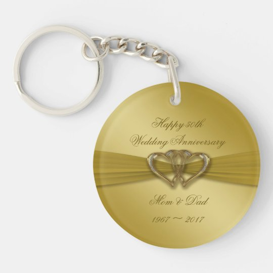 Classic Golden 50th Wedding Anniversary Key Chain