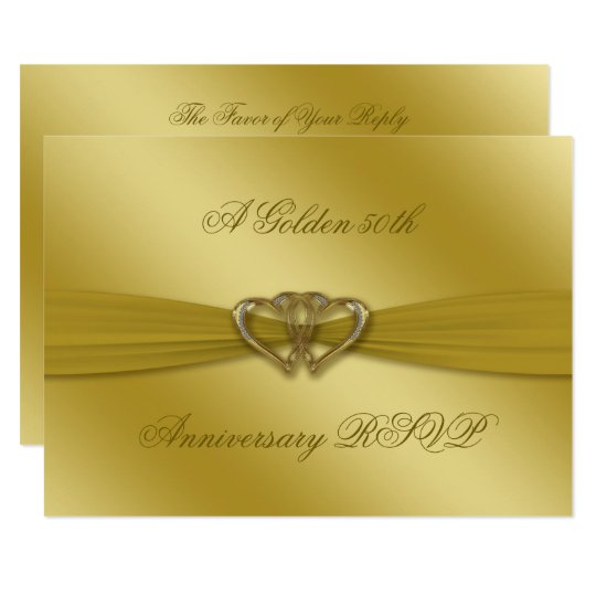 Classic Golden 50th Wedding Anniversary RSVP Card