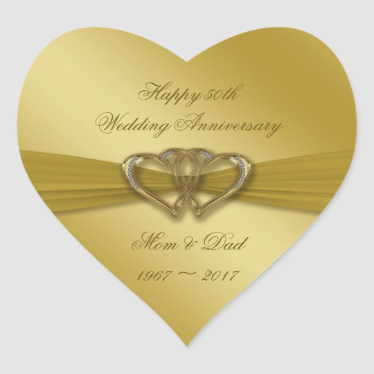 Classic Golden 50th Wedding Anniversary Stickers