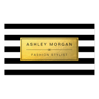 Classic Golden Label with Black White Stripes Pack Of Standard Business Cards