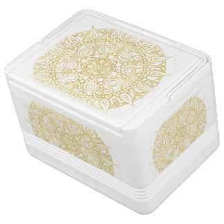 Classic Golden Mandala Print on crisp white Cooler Igloo Cooler