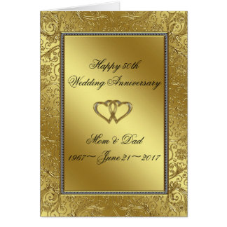Classic Golden Wedding Anniversary Greeting Card