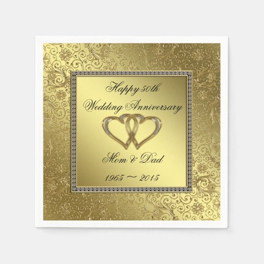 Classic Golden Wedding Anniversary Paper Napkins