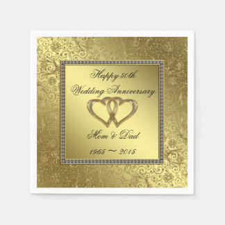 Classic Golden Wedding Anniversary Paper Napkins Disposable Serviette
